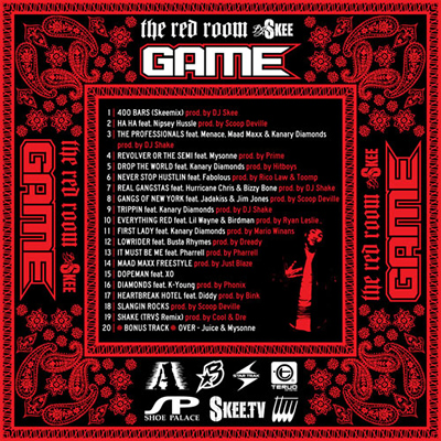 """The Red Room"" Mixtape by Game (Back Cover)"