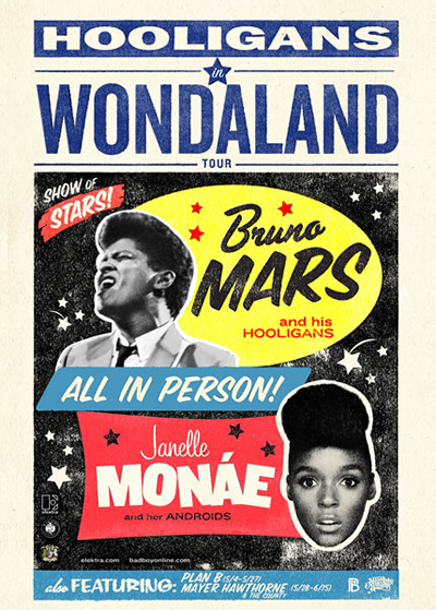 """Hooligans in Wondaland"" Tour Flier (Bruno Mars and Janelle Monae)"