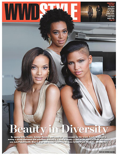 Cassie, Selita Ebanks and Solange Knowles on the Cover of WWD Style
