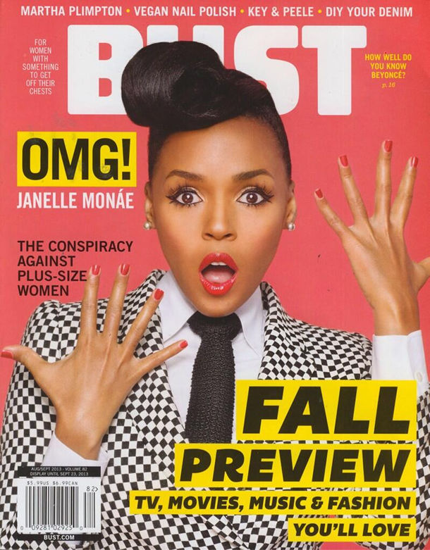 Janelle Monae on the August/September 2013 Issue of BUST Magazine