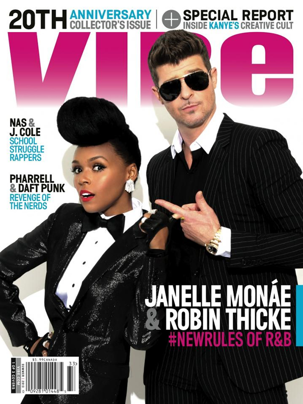 Janelle Mon�e and Robin Thicke on the Vibe Summer 2013 Cover