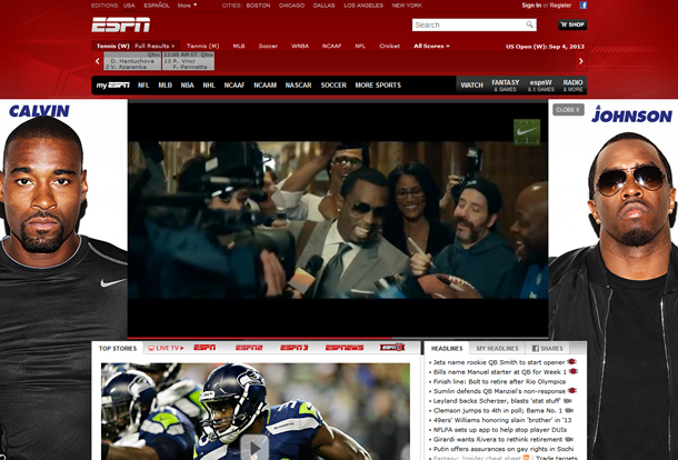 Diddy and Calvin Johnson on ESPN.com
